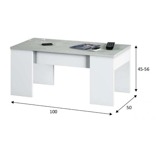 SKM Tavolino da Caff/è Grigio Cemento 150x50x35 cm in Truciolato